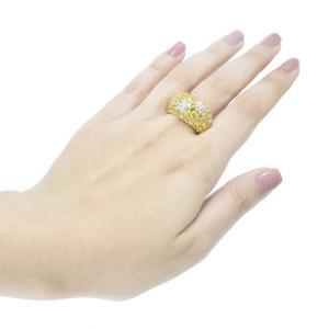Anel em Ouro Amarelo com Safiras Amarelas e Brilhantes