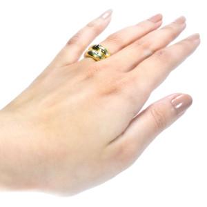 Anel em Ouro Amarelo com Safira, Esmeralda