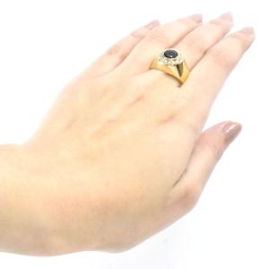 Anel Vaks em Ouro Amarelo com Safira e Brilhantes