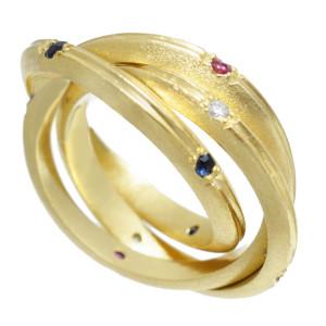 Anel 3 Aros em Ouro Amarelo com Safiras , Rubis e Brilhantes