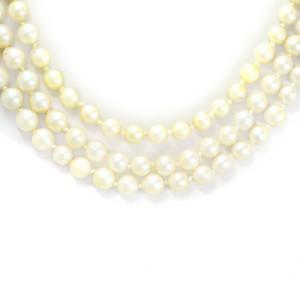 Colar de Pérolas com Fecho em Ouro Branco com Diamantes.