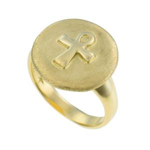 Anel H. Stern em Ouro Amarelo com Cruz Ansata Egípcia