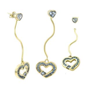 Brincos 2 em 1 Corações em Ouro Amarelo com Topázios Azuis