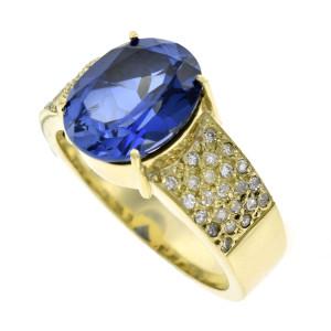 Anel em Ouro Amarelo com Safira Sintética e Diamantes