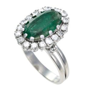 Anel em Platina com Esmeralda (com Inclusões Naturais) e Diamantes